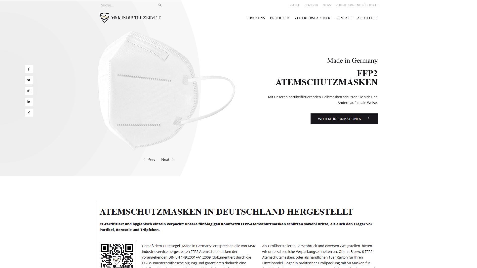 msk industrieservice atemschutzmasken ffp2 relaunch 2